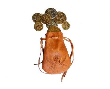 Мешочек кожаный со старинными монетами