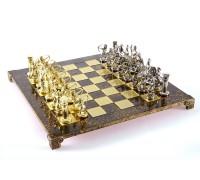 """Шахматный набор """"Лучники"""" золото/серебро коричневая доска 44x44 см"""