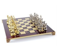 """Шахматный набор """"Лучники"""" золото/серебро красная доска 44x44 см"""