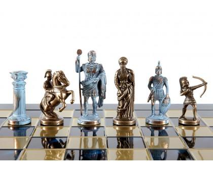 """Шахматный набор """"Лучники"""" бронза/патина синяя доска 44x44 см"""