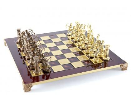"""Шахматный набор """"Лучники"""" золото/бронза красная доска 44x44 см"""