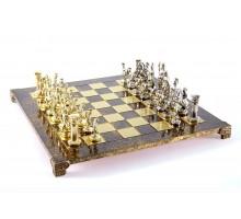 """Шахматный набор """"Греко-Римский"""" золото/серебро коричневая доска 44x44 см"""