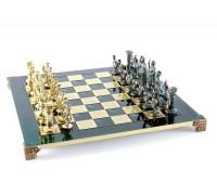 """Шахматный набор """"Греко-Римский"""" золото/антик зеленая доска 44x44 см"""