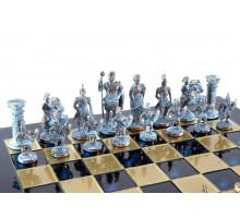 """Шахматный набор """"Греко-Римский"""" бронза/патина синяя доска 44x44 см"""