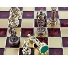 """Шахматный набор """"Греко-Римский"""" золото/бронза красная доска 44x44 см"""