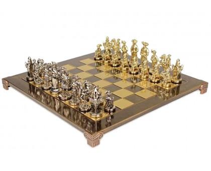 """Шахматный набор """"Рыцари Средневековья"""" золото/серебро коричневая доска 44x44 см"""