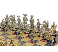 """Шахматный набор """"Рыцари Средневековья"""" золото/серебро красная доска 44x44 см"""