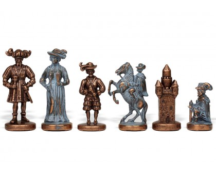 """Шахматный набор """"Рыцари Средневековья"""" бронза/патина синяя доска 44x44 см"""