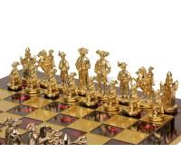 """Шахматный набор """"Рыцари Средневековья"""" золото/бронза красная доска 44x44 см"""