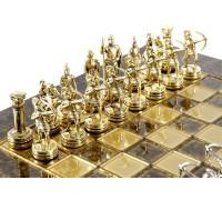 """Шахматный набор """"Лучники"""" золото/серебро коричневая доска 28х28 см"""