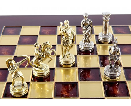 """Шахматный набор """"Лучники"""" золото/серебро красная доска 28х28 см"""