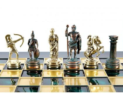 """Шахматный набор """"Лучники"""" золото/антик зеленая доска 28x28 см"""