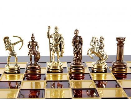 """Шахматный набор """"Лучники"""" золото/бронза красная доска 28х28 см"""