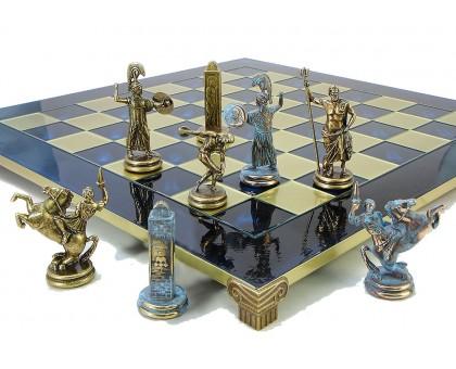 """Шахматный набор """"Олимпийские Игры"""" бронза/патина синяя доска 54x54 см"""