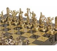 """Шахматный набор """"Греческая Мифология"""" золото/серебро коричневая доска 54x54 см"""