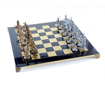 """Шахматный набор """"Греческая Мифология"""" бронза/патина синяя доска 54x54 см"""