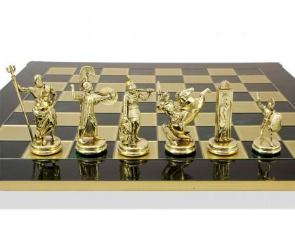 """Шахматный набор """"Греческая Мифология"""" золото/бронза зеленая доска 54x54 см"""