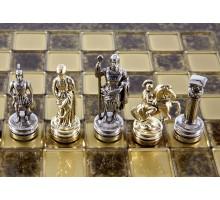 """Шахматный набор """"Греко-Римский"""" золото/серебро коричневая доска 28x28 см"""