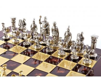"""Шахматный набор """"Греко-Римский"""" золото/серебро красная доска 28x28 см"""