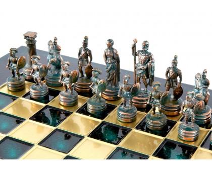 """Шахматный набор """"Греко-Римский"""" золото/антик зеленая доска 28x28 см"""