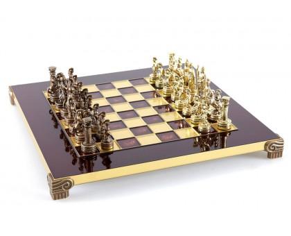 """Шахматный набор """"Греко-Римский"""" золото/бронза красная доска 28x28 см"""