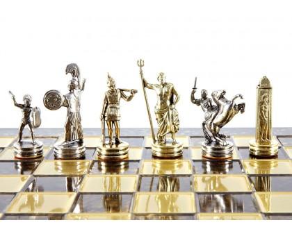"""Шахматный набор """"Греческая Мифология"""" золото/серебро коричневая доска 36x36 см"""
