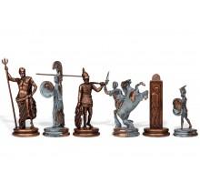 """Шахматный набор """"Греческая Мифология"""" бронза/патина синяя доска 36x36 см"""