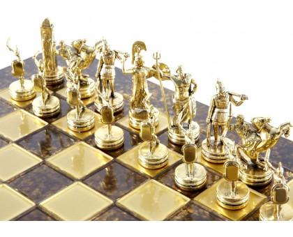 """Шахматный набор """"Греческая Мифология"""" золото/бронза коричневая доска 36x36 см"""
