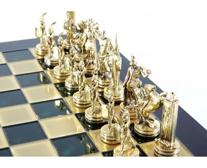 """Шахматный набор """"Греческая Мифология"""" золото/бронза зеленая доска 36x36 см"""