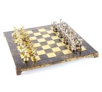 """Шахматный набор """"Подвиги Геракла"""" золото/серебро коричневая доска 36x36 см"""