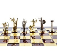 """Шахматный набор """"Подвиги Геракла"""" золото/серебро красная доска 36x36 см"""
