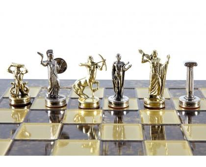 """Шахматный набор """"Греческие Боги"""" золото/серебро коричневая доска 36x36 см"""