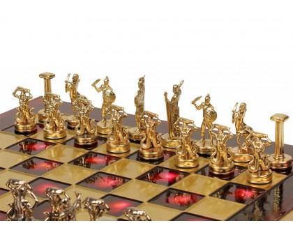 """Шахматный набор """"Греческие Боги"""" золото/серебро красная доска 36x36 см"""