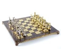 """Шахматный набор """"Олимпийские Игры"""" золото/серебро коричневая доска 36x36 см"""