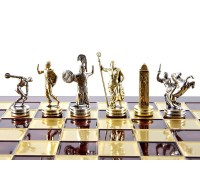 """Шахматный набор """"Олимпийские Игры"""" золото/серебро красная доска 36x36 см"""