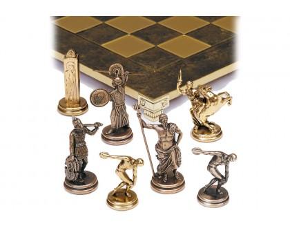 """Шахматный набор """"Олимпийские Игры"""" золото/бронза коричневая доска 36x36 см"""