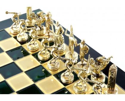"""Шахматный набор """"Олимпийские Игры"""" золото/бронза зеленая доска 36x36 см"""