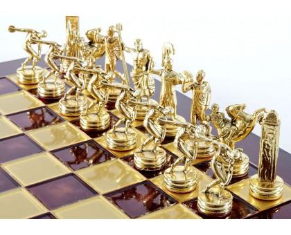 """Шахматный набор """"Олимпийские Игры"""" золото/бронза красная доска 36x36 см"""