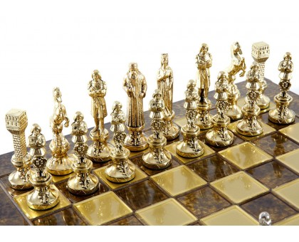 """Шахматный набор """"Ренессанс"""" золото/серебро коричневая доска 36x36 см"""