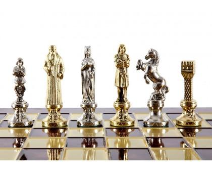 """Шахматный набор """"Ренессанс"""" золото/серебро красная доска 36x36 см"""