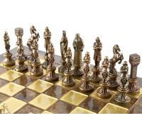 """Шахматный набор """"Ренессанс"""" золото/бронза коричневая доска 36x36 см"""