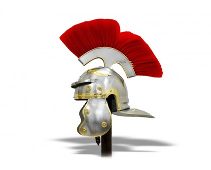 Шлем Центуриона Викинги с красным плюмажем
