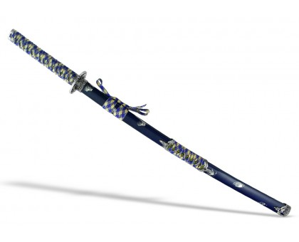 Японский меч катана серебристо-синий