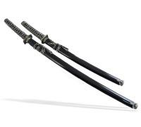 Набор самурайских мечей 2 шт. черные ножны медная цуба