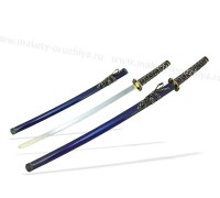 Набор самурайских мечей 2 шт. ножны синие цуба черно-золотая