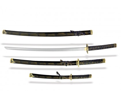 Набор самурайских мечей 3 шт. сине-желтые ножны