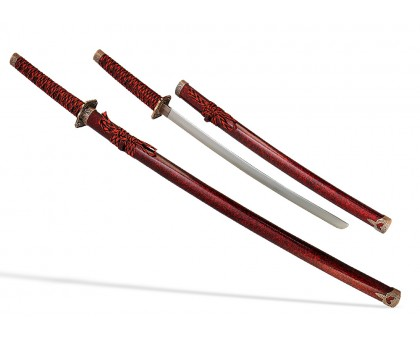 Набор самурайских мечей 2 шт. ножны бордовый мрамор