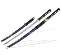 Набор самурайских мечей 2 шт. ножны синие классическая цуба золото
