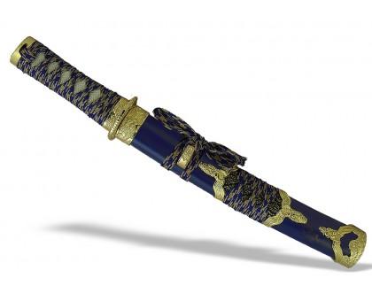 Японский нож Танто золотисто-синий