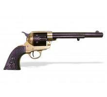 """Револьвер Кольт Миротворец 7½"""" дюймов черно-золотой 1873 г."""